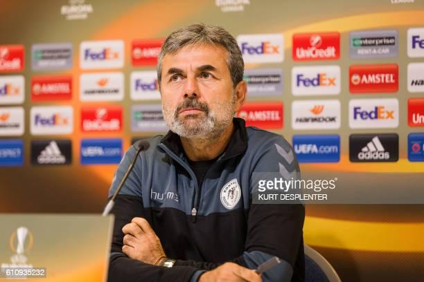 Konyaspor's head coach Aykut Kocaman attends a press conference for the Turkish club Atiker Konyaspor on September 28 in Gent KAA Gent will face...