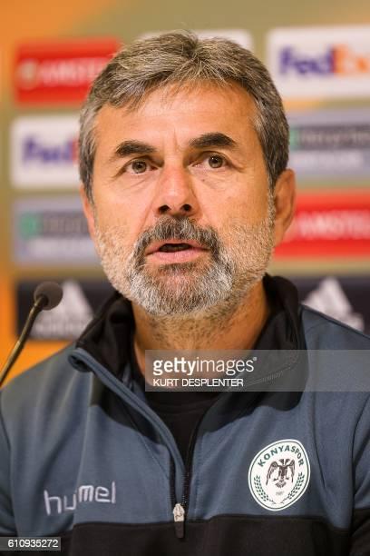 Konyaspor's head coach Aykut Kocaman attends a press conference for the Turkish club Atiker Konyaspor on September 28 in Gent. KAA Gent will face...