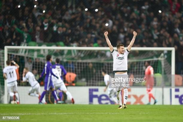 Konyaspor's Nejc Skubic celebrates with his teammates after scoring a goal during the UEFA Europa League Group I football match between Konyaspor and...