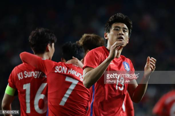 Koo JaCheol of South Korea celebrates after first score during the international friendly match between South Korea and Serbia at Ulsan World Cup...