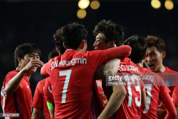 Koo JaCheol of South Korea celebrates with his team mate Son HeungMin after first score during the international friendly match between South Korea...