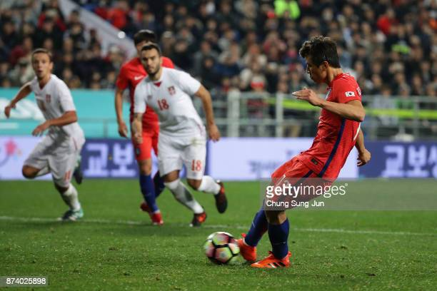 Koo JaCheol of South Korea scores from a penalty kick during the international friendly match between South Korea and Serbia at Ulsan World Cup...