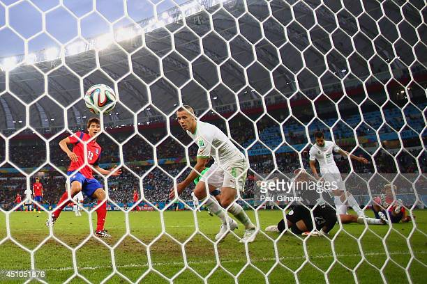 Koo JaCheol of South Korea scores his team's second goal past Djamel Mesbah and goalkeeper Rais M'Bolhi of Algeria during the 2014 FIFA World Cup...