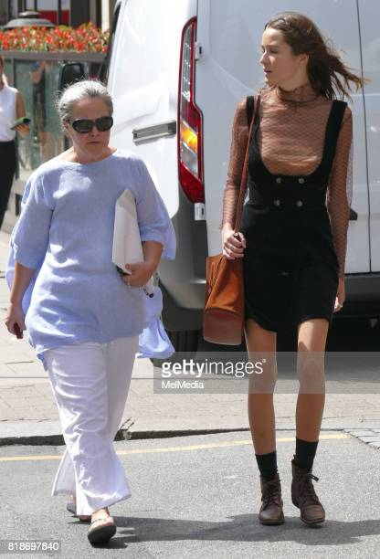 Koo Stark is seen out with her daughter Tatiana Walker walking in Knightsbridge on July 18 2017 in London England