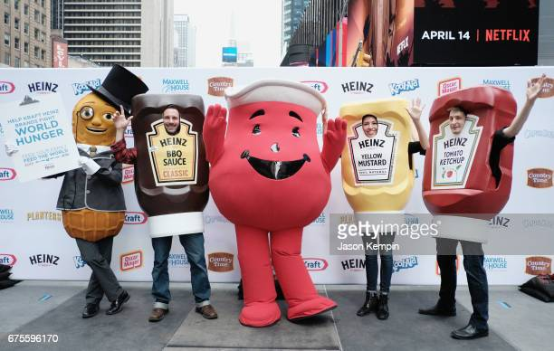 KoolAid Man Mr Peanut and The Ketchups team up in Times Square to fight global hunger during the kickoff event for the Feed Your Family Feed The...