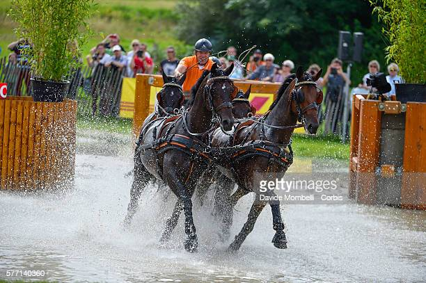 Koos de Ronde of Netherlands driving Alino Palero Ulano Zimon to second place in the XXXL Pallen Marathon Driving Marathon competition for fourinhand...