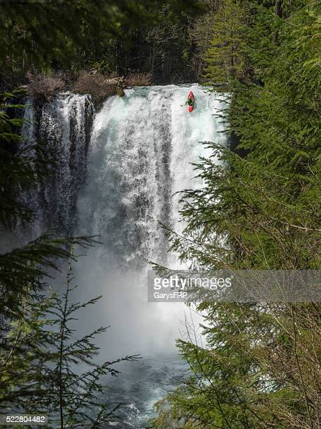Koosah Falls near Sahalie Falls Oregon With a Kayaker