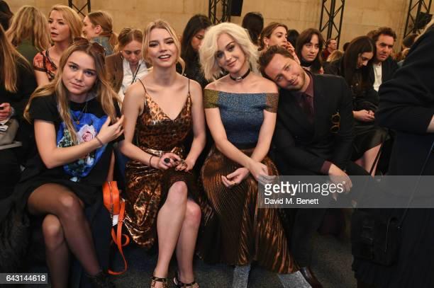 Kooshyar Taylor Anya Taylor Joy Katy Perry and Derek Blasberg attend the Christopher Kane show during the London Fashion Week February 2017...