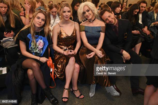 Kooshyar Taylor Anya Taylor Joy Katy Perry and Derek Blasberg attend the Christopher Kane show during the London Fashion Week February 2017...