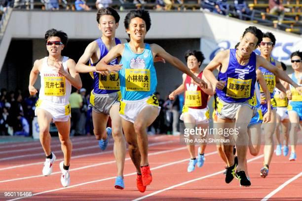 Koou Kobayashi crosses the finish line to win in the Men's 1500m during the Kobe Relay Carnival at the Kobe Universiade Memorial Stadium on April 22...