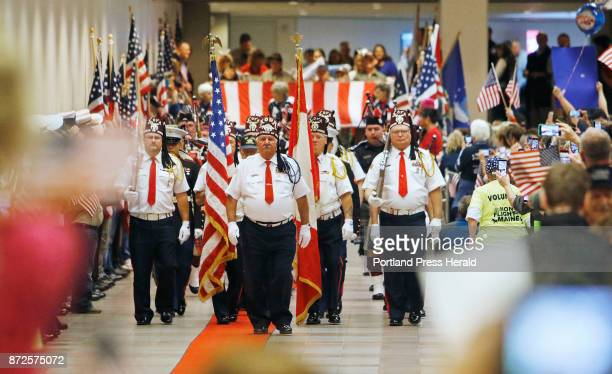 Kora Shriners from Lewiston lead the parade of Maine veterans down the red carpet at the Portland Jetport as they return from DC on the Maine Honor...