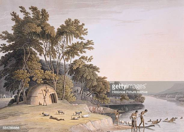 A Korah Hottentot Village on the Left Bank of the Orange River by Samuel Daniell