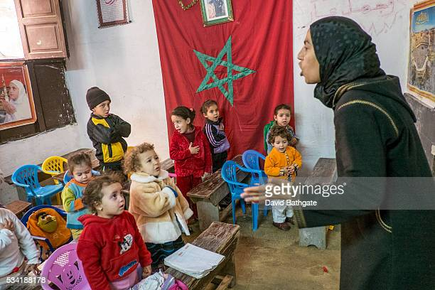 A Koran classroom setting for younger children in the old city of Fes Morocco
