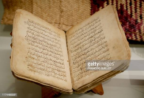 A Koran dating from the start of the 20th century is displayed during the exhibition AlUla Wonder of Arabia at the l'Institut du monde arabe in the...