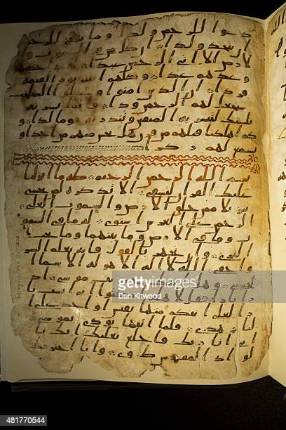 Koran manuscript is displayed at the University of Birmingham on July 24, 2015 in Birmingham, England. The two leaves of parchment have recently been...