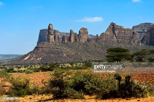 Koraro pinnacles in the Gheralta Mountain massif, home to the rock-hewn church Abuna Yemata Guh, near Hazwien, Tigray, Ethiopia.