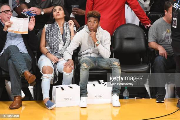 Koraun Mayweather and a guest attend a basketball game between the Los Angeles Lakers and the Oklahoma City Thunder at Staples Center on January 3...