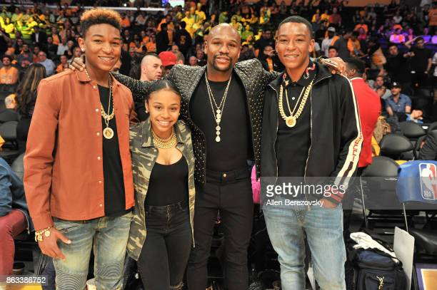 Koraun Mayweather Iyanna Mayweather Floyd Mayweather Jr and Zion Mayweather attend a basketball game between the Los Angeles Lakers and the Los...