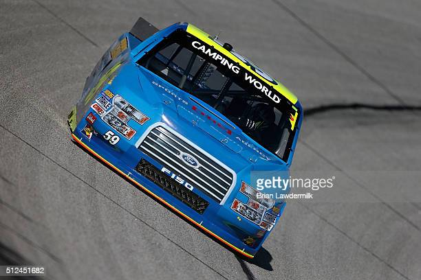 Korbin Forrister driver of the Tilted Kilt/MOMO/The Sports Agency Ford practices for the NASCAR Camping World Truck Series Great Clips 200 at Atlanta...