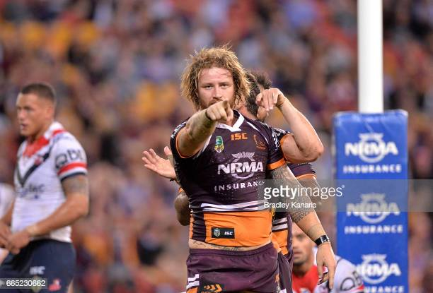 Korbin Sims of the Broncos celebrates scoring a try during the round six NRL match between the Brisbane Broncos and the Sydney Roosters at Suncorp...