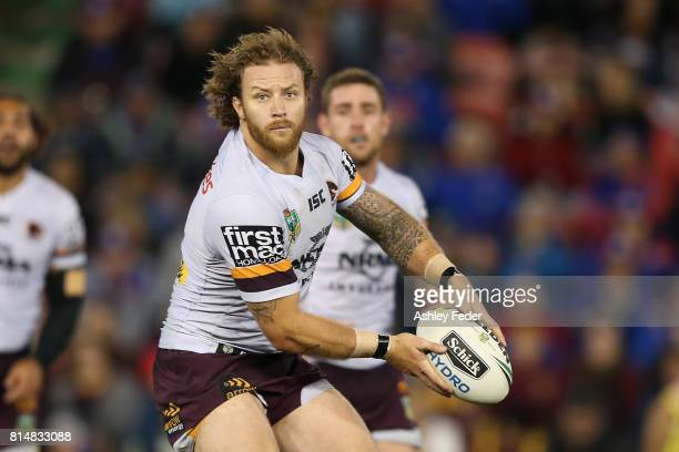 Korbin Sims of the Broncos in action during the round 19 NRL match between the Newcastle Knights and the Brisbane Broncos at McDonald Jones Stadium...