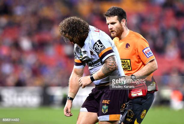 Korbin Sims of the Broncos injures his left arm during the round 25 NRL match between the Brisbane Broncos and the Parramatta Eels at Suncorp Stadium...