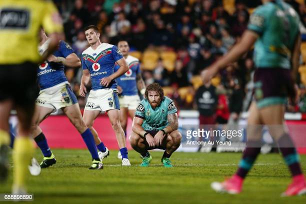 Korbin Sims of the Broncos looks on towards the end of round 12 NRL match between the New Zealand Warriors and the Brisbane Broncos at Mt Smart...