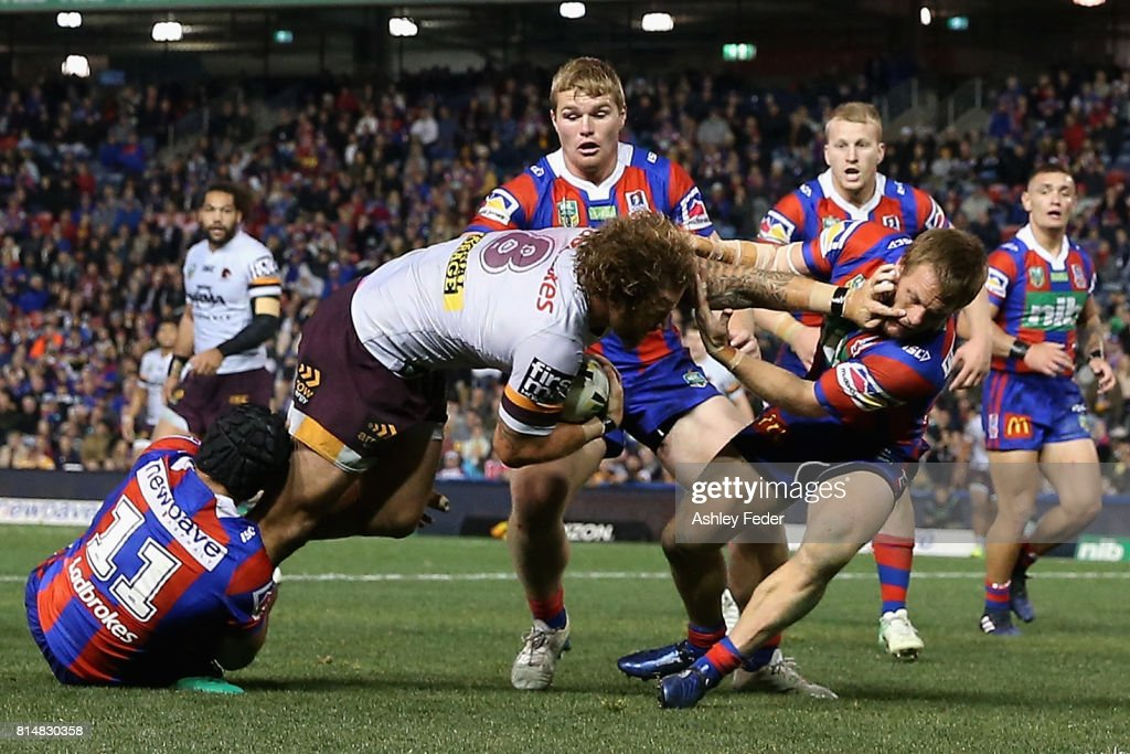 Korbin Sims of the Broncos scores a try during the round 19 NRL match between the Newcastle Knights and the Brisbane Broncos at McDonald Jones Stadium on July 15, 2017 in Newcastle, Australia.