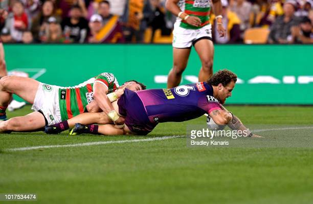 Korbin Sims of the Broncos scores a try during the round 23 NRL match between the Brisbane Broncos and the South Sydney Rabbitohs at Suncorp Stadium...