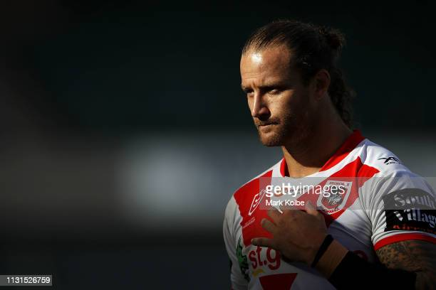 Korbin Sims of the Dragons watches on during the NRL trail match between the St George Illawarra Dragons and the Newcastle Knights at WIN Stadium on...