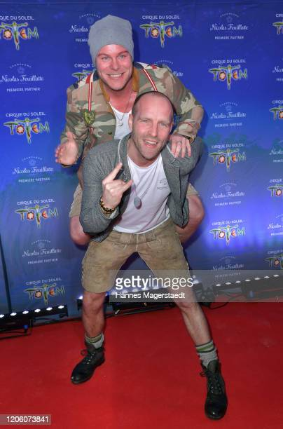 Korbinian Ahrendt and Stefan Raaflaub attend the premiere of Totem by Cirque du Soleil at Theresienwiese on February 13 2020 in Munich Germany