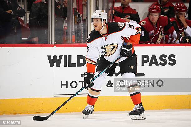 Korbinian Holzer of the Anaheim Ducks during the preseason NHL game against Arizona Coyotes at Gila River Arena on October 1 2016 in Glendale Arizona...