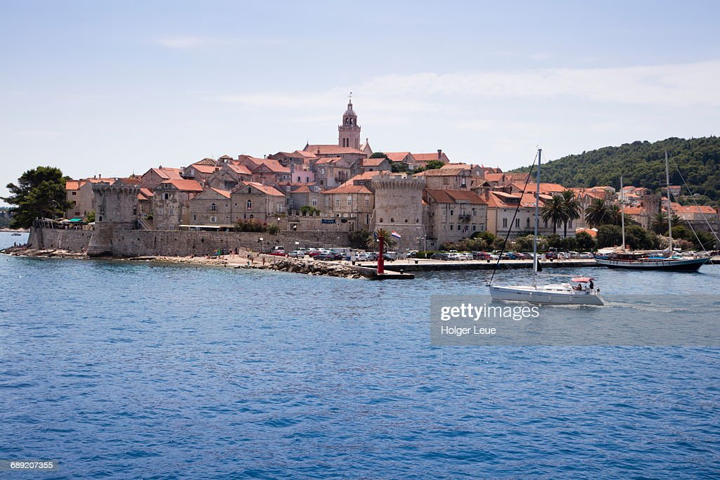 Korcula Old Town with St. Mark's Cathedral : Stock Photo