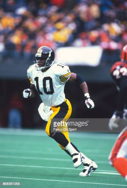 Kordell Stewart of the Pittsburgh Steelers runs with the ball against the Cincinnati Bengals during an NFL football game November 10 1996 at...