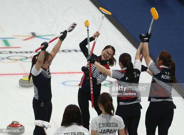Korea celebrate after they defeated Japan during the Women's Semi Final match between Korea and Japan on day fourteen of the PyeongChang 2018 Winter...