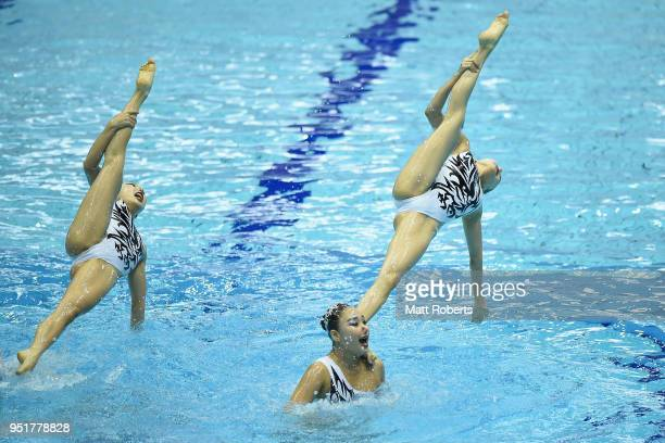 Korea compete during the Team Technical Routine Final on day one of the FINA Artistic Swimming Japan Open at the Tokyo Tatsumi International Swimming...
