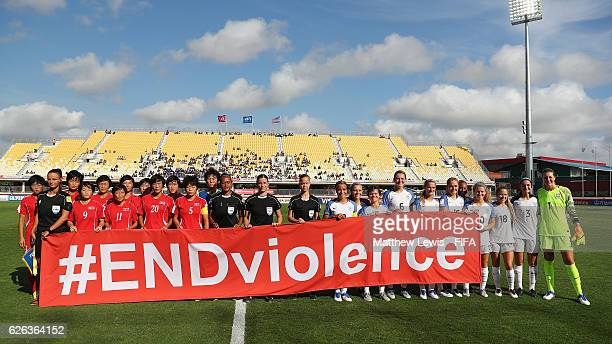 Korea DPR and USA pictured to promote FIFA's 'ENDviolence' campaign during the FIFA U-20 Women's World Cup Papua New Guinea 2016 Semi Final match...