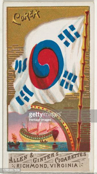 Korea, from Flags of All Nations, Series 1 for Allen & Ginter Cigarettes Brands, 1887. Artist Allen & Ginter.