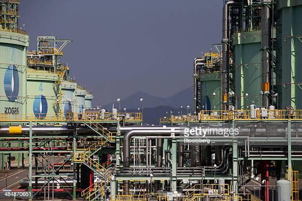 Korea Gas Corp liquefied natural gas tanks stand at the company's LNG terminal in Tongyeong South Korea on Monday April 14 2014 Kogas is seeking to...