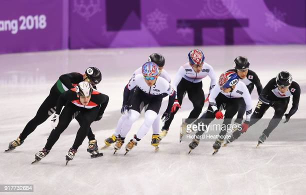 Korea Hungary the United States and Japan compete during the Men's 5000m Relay Short Track Speed Skating heat 2 on day four of the PyeongChang 2018...