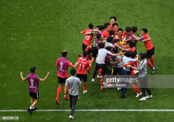 Korea players and staff all celebrate following the opening goal after the VAR decision allowed the goal during the 2018 FIFA World Cup Russia group...