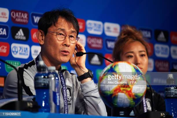 Korea Rebuplic coach Dukyeo Yoon faces the media during a press conference at Parc des Princes stadium on June 06, 2019 in Paris, France.
