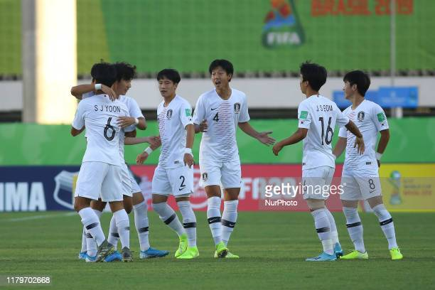 Korea Republic celebrates after defeating Chile 21 during the FIFA U17 World Cup Brazil 2019 group C match between Chile and Korea Republic at...