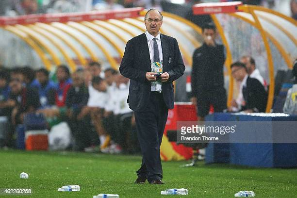 Korea Republic coach Uli Stielike looks on during the Asian Cup Semi Final match between Korea Republic and Iraq at ANZ Stadium on January 26 2015 in...