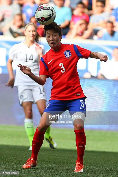 Korea Republic defender Kim Hyeri heads the ball during the first half of the game between the Korea Republic and the US Womens National Team played...