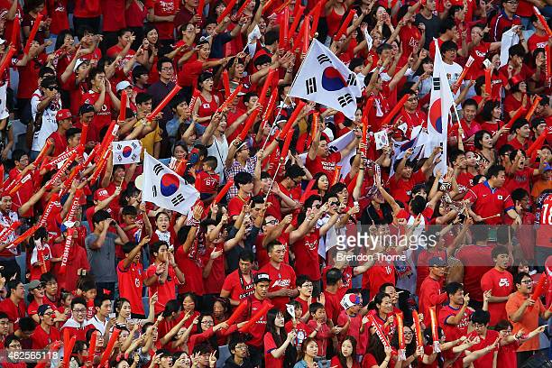Korea Republic fans show their colours during the 2015 Asian Cup final match between Korea Republic and the Australian Socceroos at ANZ Stadium on...