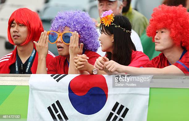 Korea Republic fans watch on during the 2015 Asian Cup match between Kuwait and Korea Republic at Canberra Stadium on January 13 2015 in Canberra...