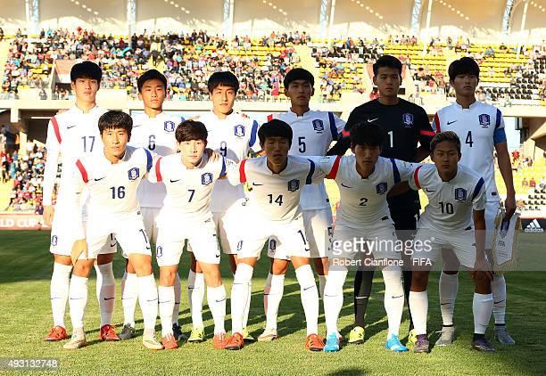 Korea Republic line up for the FIFA U17 World Cup Group B match between Brazil and the Korea Republic at Estadio Francisco Sanchez Rumoroso on...