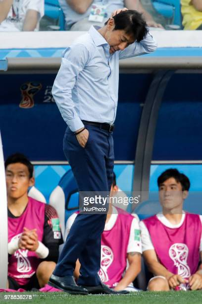 Korea Republic national team head coach Taeyong Shin during the 2018 FIFA World Cup Russia Group F match between Sweden and Korea Republic on June 18...