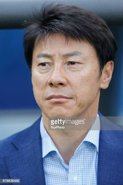 Korea Republic national team head coach Taeyong Shin looks on during the 2018 FIFA World Cup Russia Group F match between Sweden and Korea Republic...